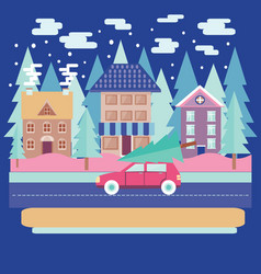 Winter city landscape with firs in flat modern vector