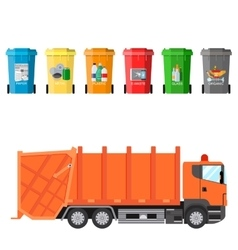 Recycle waste bins and garbage truck vector