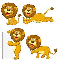 Cute lion cartoon set vector