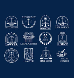 Law firm legal center and lawyer office badge set vector