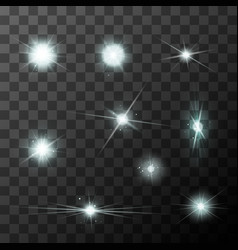 Set of different starbursts with white sparkles vector