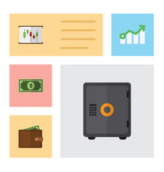 Flat exchequer set of growth billfold strongbox vector