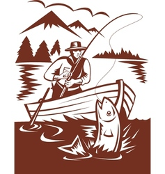 Fly fisherman catching trout on boat vector image