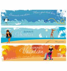 Vacation girls banners vector