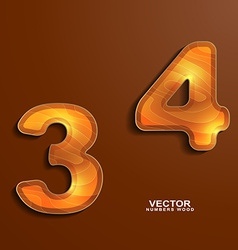 Icons wood texture numbers 3 4 vector