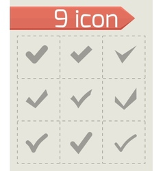 Black confirm icon set vector