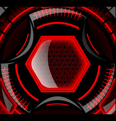 Round futuristic design with black and red color vector