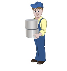 Painter standing with the pile of buckets vector