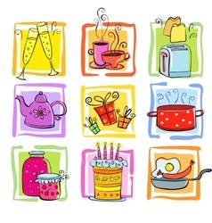 Meal and ware doodle set vector