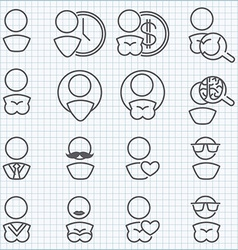 Man and woman icons set vector