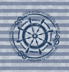 Nautical emblem with sea wheel vector image
