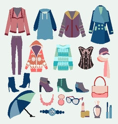 Fashion winter collection of winter clothes vector