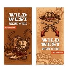 Cawboy wild west vertical banners vector