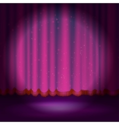 Spotlight on magenta stage curtain vector