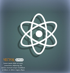 Atom physics icon on the blue-green abstract vector