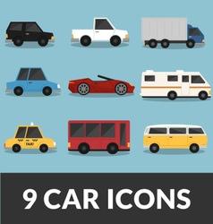 9 car set vector