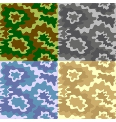Army soldier camouflage background pattern set vector