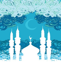 Artistic pattern background with moon and mosque vector