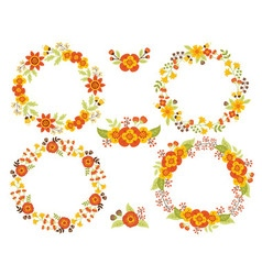 Autumn wreath set vector
