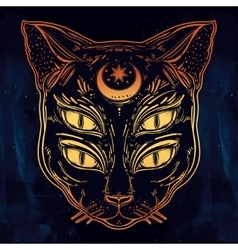 Black cat head portrait with moon and four eyes vector