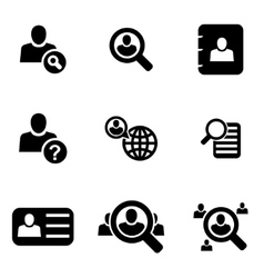 Black people search icon set vector