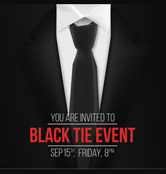 Black suit black tie event invitation template vector