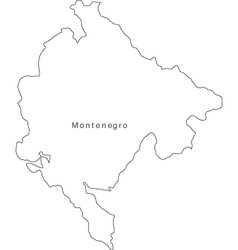 Black White Montenegro Outline Map vector image vector image