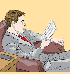 businessman reading a newspaper vector image
