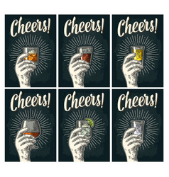Cheers lettering hand hold glass brandy tequila vector