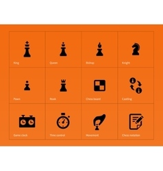 Chess figures icons on orange background vector