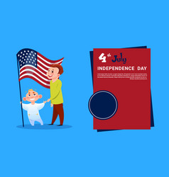 children hold united states flag independence day vector image