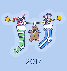 Christmas Stockings and Sweets. vector image vector image