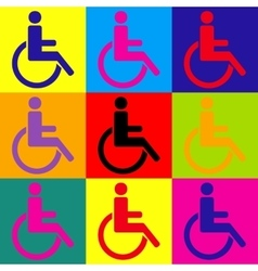 Disabled sign pop-art style icons set vector