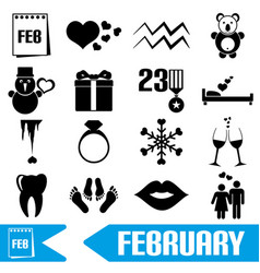 february month theme set of simple icons eps10 vector image vector image