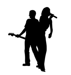 Female singer and male guitar player back to back vector