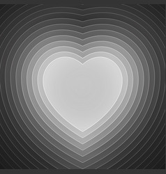 Grey and white paper layers heart shape vector image vector image