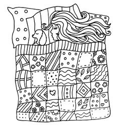 High quality original pattern of girl in a bed vector