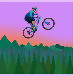 image of a cyclist on a background of mountains vector image vector image