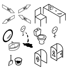 Isometric bathroom and toilet apartment interior vector