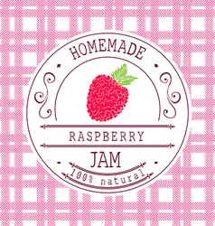 Jam label design template for raspberry dessert vector