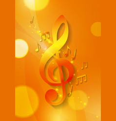 Music notes on abstract orange background vector