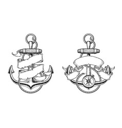 nautical anchors with vector image vector image