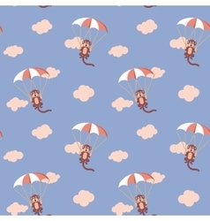 Pattern of monkeys with parachute rose quartz and vector