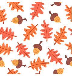 seamless autumn leaves and acorns pattern vector image vector image