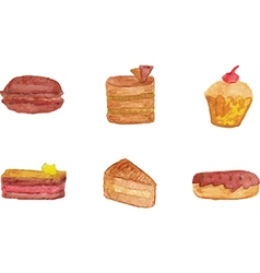 Set of chocolate desserts vector image
