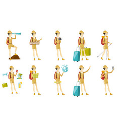 Set with traveler characters vector