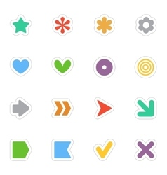 Simple flat stickers icon set on white vector image vector image