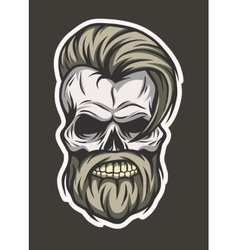 Stylish hipster skull Line art style vector image vector image