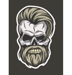 Stylish hipster skull line art style vector