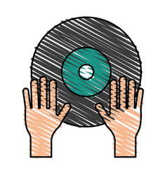 turntable music hand vector image